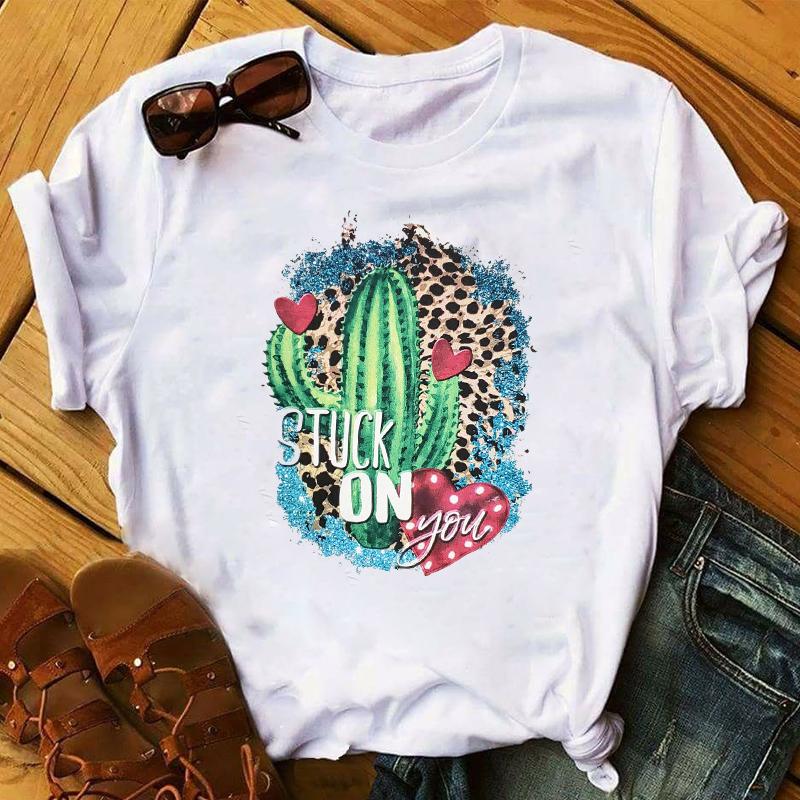 Women Cactus Graphic Leopard Female Print 2020 Valentine's Day Top Clothes Lady Ladies Womens Tee T-Shirt T Shirt  T-shirts