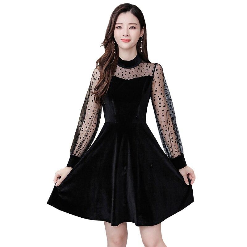 Nouveau Sexy Polk Dots dentelle femmes noir Hepburn robe en velours Vintage voir à travers la dentelle lanterne manches mince robe de soirée Vestidos