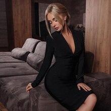 ADYCE 2020 חדש חורף נשים שחור תחבושת שמלה סקסי עמוק V צוואר ארוך שרוול Bodycon מועדון Midi חמה סלבריטאים ערב מסיבת שמלה