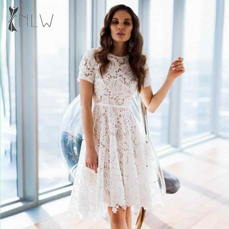 NLW blanc dentelle Robe mi-longue 2019 automne hiver femmes broderie élégante évider Robe grande taille Blet Robe de soirée Robe Femme