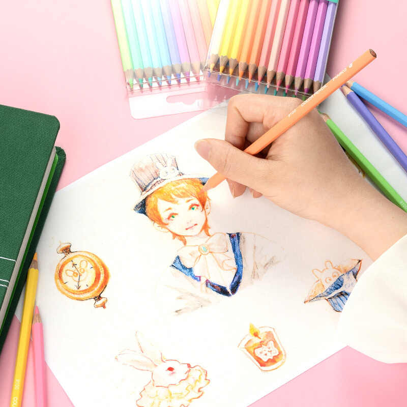 Marco 12/24 ใหม่นุ่มอินเทรนด์สีพาสเทลดินสอ Andstal ปลอดสารพิษดินสอสี Lapis de COR ดินสอสีสำหรับโรงเรียนเด็ก