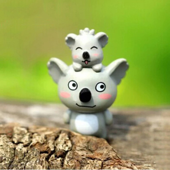 ZOCDOU 1 Piece Koala Mother and Son Model Small Statue Figurine PVC Crafts Mini Ornament Miniatures DIY Home House Office Decor image