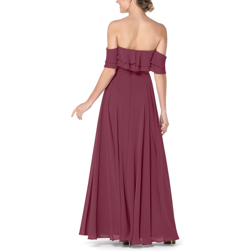 Dark Reddish Purple Party Dress 2020 Elegant Strapless Bridesmaid Dresses Chiffon Vestidos De Festa Vestidos De Boda Invitada