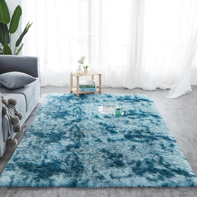 RULDGEE Шелковистый Ковер, плюшевые коврики для галстука-красителя, красивые лохматые ковры, искусственный мех, коврики для спальни, гостиной, Alfombra, пушистые коврики
