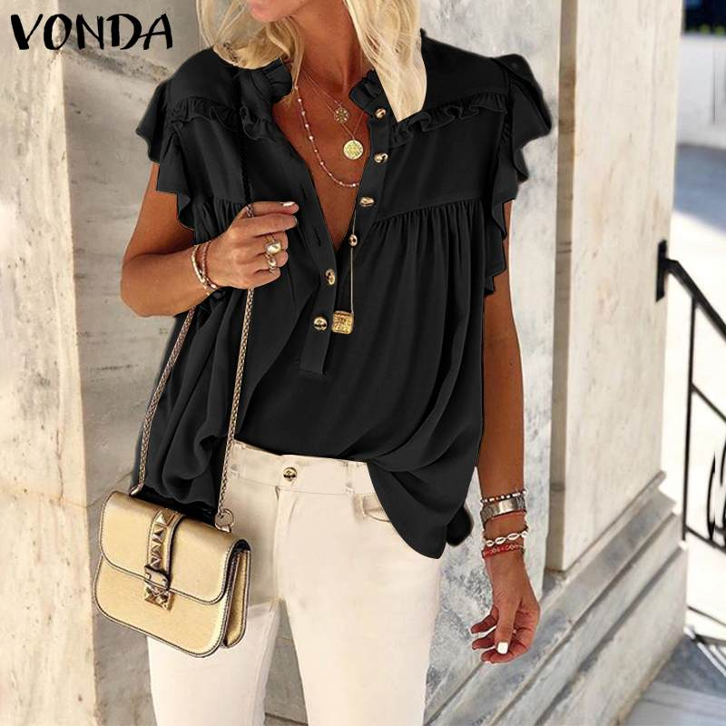 VONDA Tunic Women Blouse Casual Stand Collar Sleeveless Shirts 2020 Summer Bohemian Beach Tops Ladies Work Shirts Plus Size
