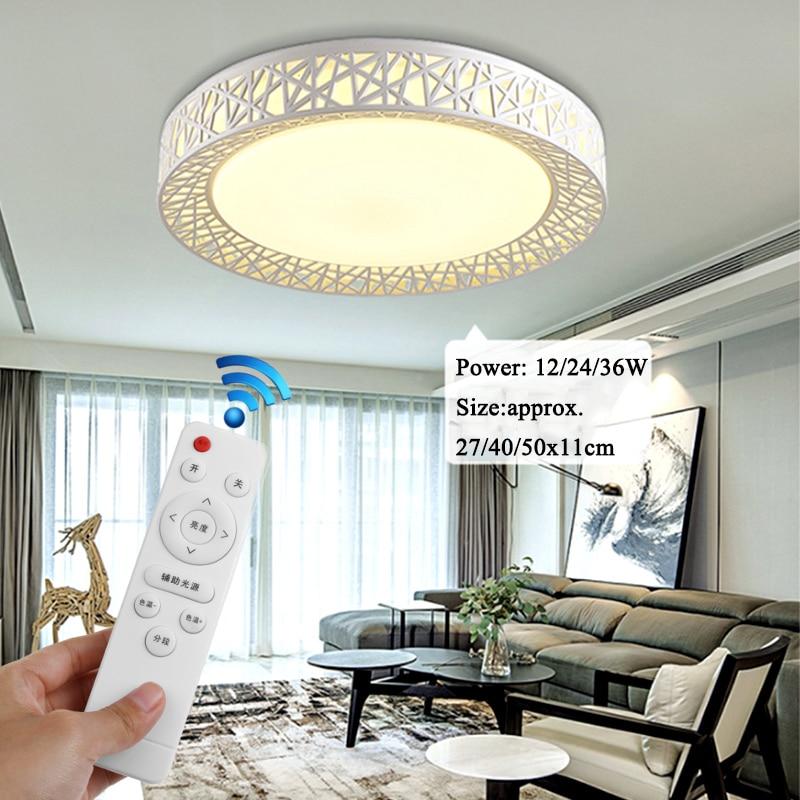 Modern LED Ceiling Lamp 12/24/36W Dimming Chandelier LED Light Remote Controller Fixture Home Living Bedroom Lighting 80-240V