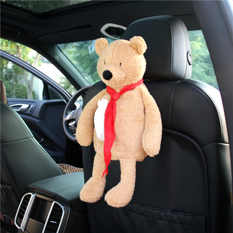 Car Chair Mounted Tissue Dispenser Red Scarf Bear Chair Armrest Box Tissue Dispenser Creative Multi-functional Tissue Cover