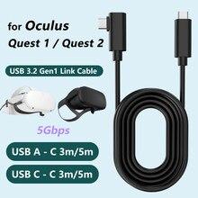 Para Oculus Busca 1 para Oculus 2 Cabo de Ligação USB 3.2 Gen Cabo de Ligação Tipo C Carga de Transferência de Dados Rápida 3M 5M Vapor Acessórios VR