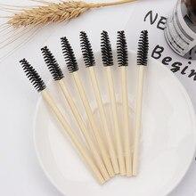 50 sztuk uchwyt bambusowy szczotka do rzęs pędzel do makijażu przedłużanie rzęs jednorazowe pędzel do brwi aplikator do tuszu do rzęs przybory do makijażu