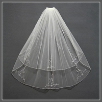 Simple Short Tulle Wedding Veils with comb handmade beaded White Ivory Bridal Veil for Bride for Mariage Wedding Accessories