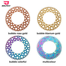 130 BCD BXM Folding Ultralight Bicycle Chainring Hollow Design Round Hole Plating Anode Rainbow 53T 56T Bike Chainwheel BOLANY
