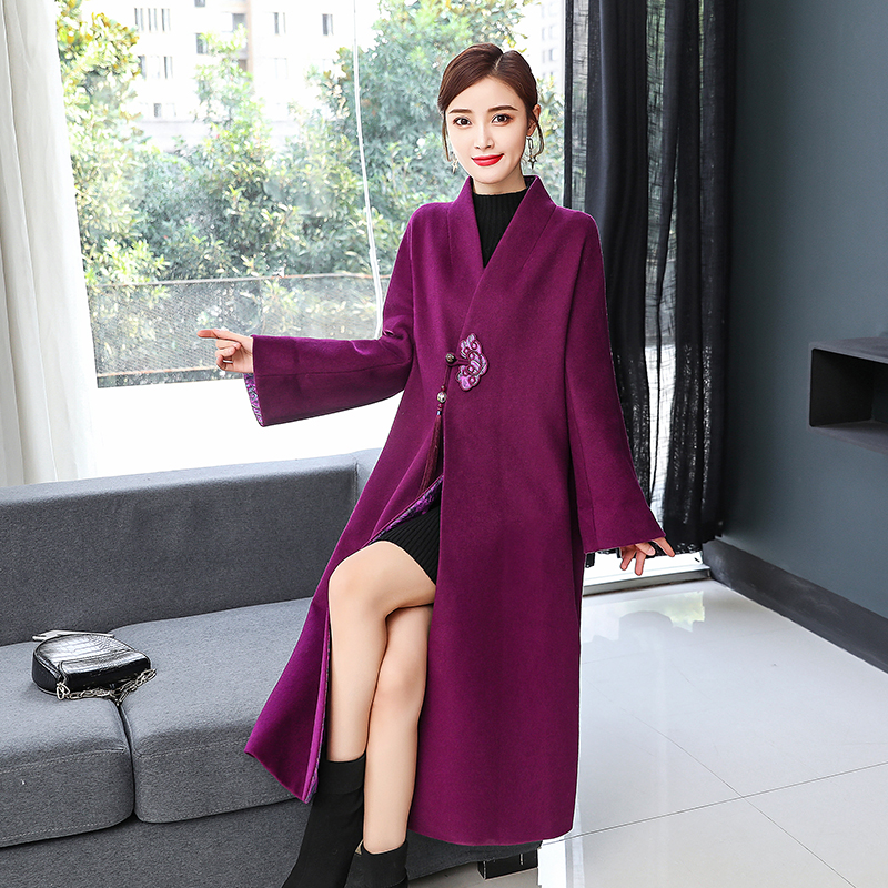 CHUNLI Large size 2019 Tang suit female autumn and winter models Chinese style long woolen coat daily Hanfu women's clothing