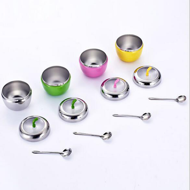 Stainless Steel Apple Sugar Bowl Seasoning Jar Condiment Pot Spice Container Canister Cruet with Lid and Spoon