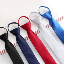 5.5*48cm Pre-tied Neck Tie Mens Skinny Cord Fastener Black Blue Solid Color Slim Narrow Bridegroom Party Dress Necktie