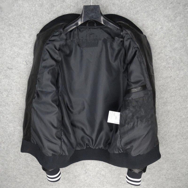 Autumn Men's Leather Bomb Black Pilot Short Sleeve Sheepskin Jacket Overcoat Pilot Overcoat