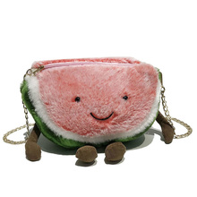 Fashion Cute Girl Watermelon Bag 2019 Quality Soft Plush Women's Designer Handbag Chain Shoulder Messenger Bag Cute Bags Peach princess sweet lolita bag original girl soft sister satchel handbag little pig bag cute sprouting chain wrapped mouth bag cc123