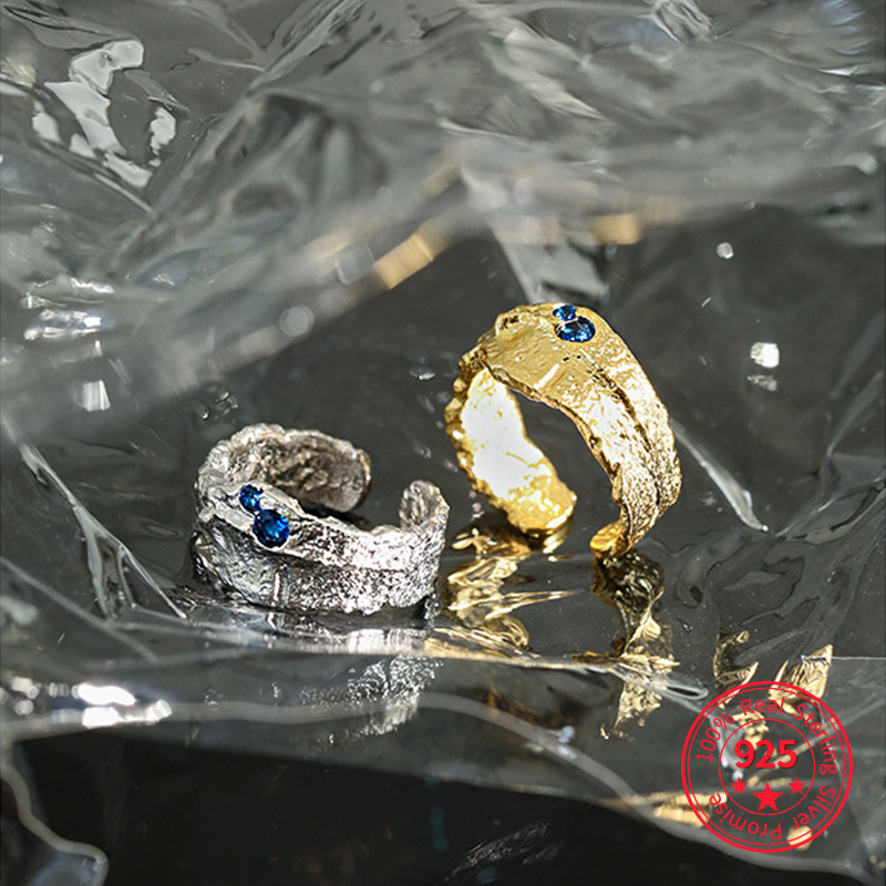 Irregular Rings 925 Sterling Silver For Women Korean Designer Luxury Zircon Opening Ring Blue Zircon Adjustable Rings Jewelry