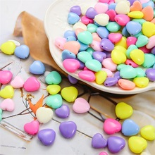 70PCS/set Diy Hand Beaded Bracelet Accessories Acrylic Candy Peach Heart Beads Loose Self-made Earrings Jewelry Material Bag