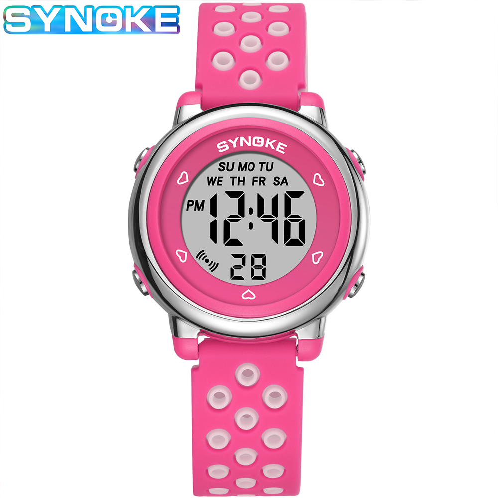SYNOKE Kids Digital Watches Colorful Luminous Waterproof Alarm Clock Watches Hollow Out Strap Multi-function Students Watches