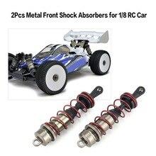 все цены на 2019 2Pcs Aluminium Alloy Metal Front Shock Absorbers for 1/8 Scale JLB HSP EM Racing DHK HPI ZD Racing RC Car Truck онлайн
