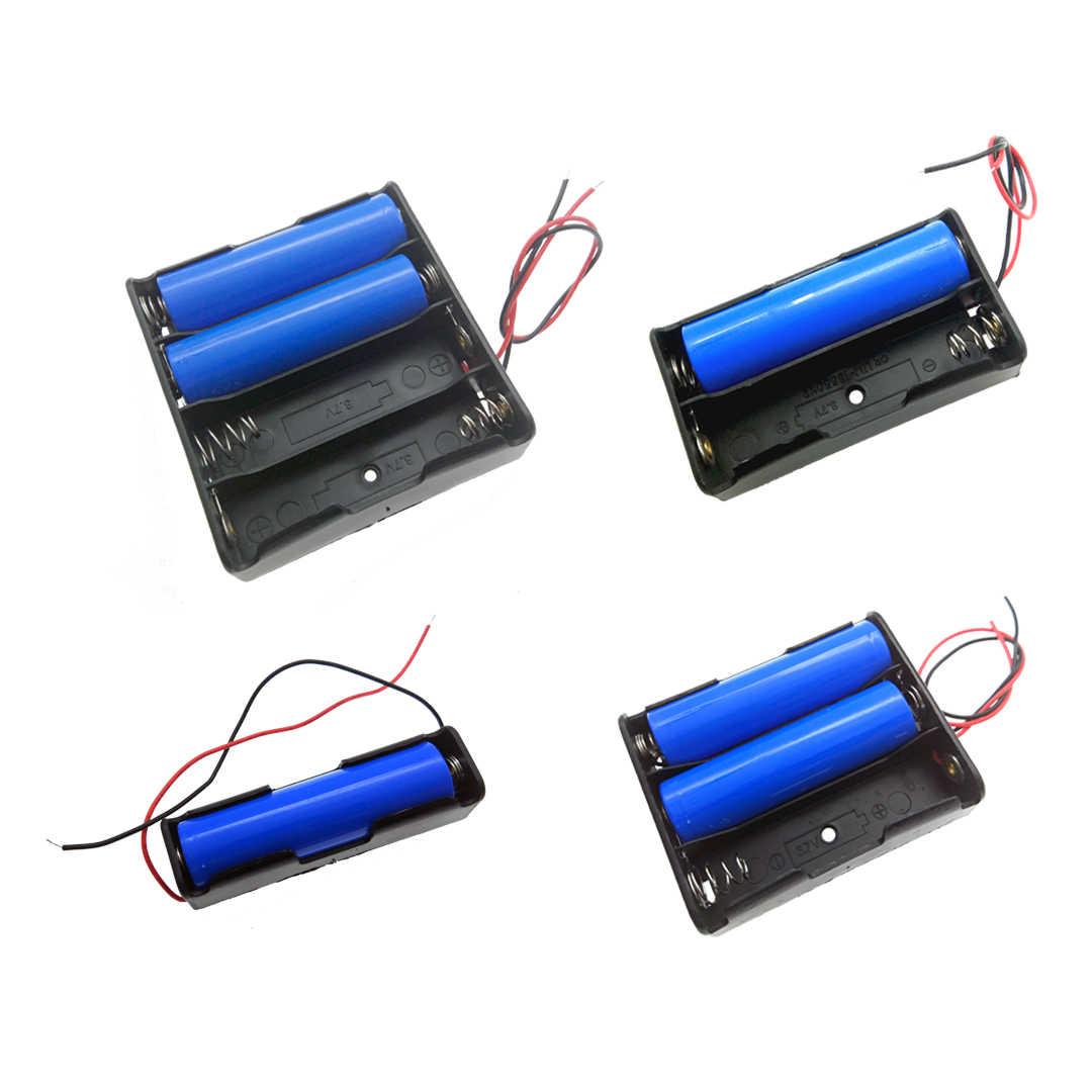 1 pièces 18650 batterie boîte de rangement boîtier bricolage 1/2/3/4 fente manière bricolage Batteries clip de fixation conteneur avec fil broche