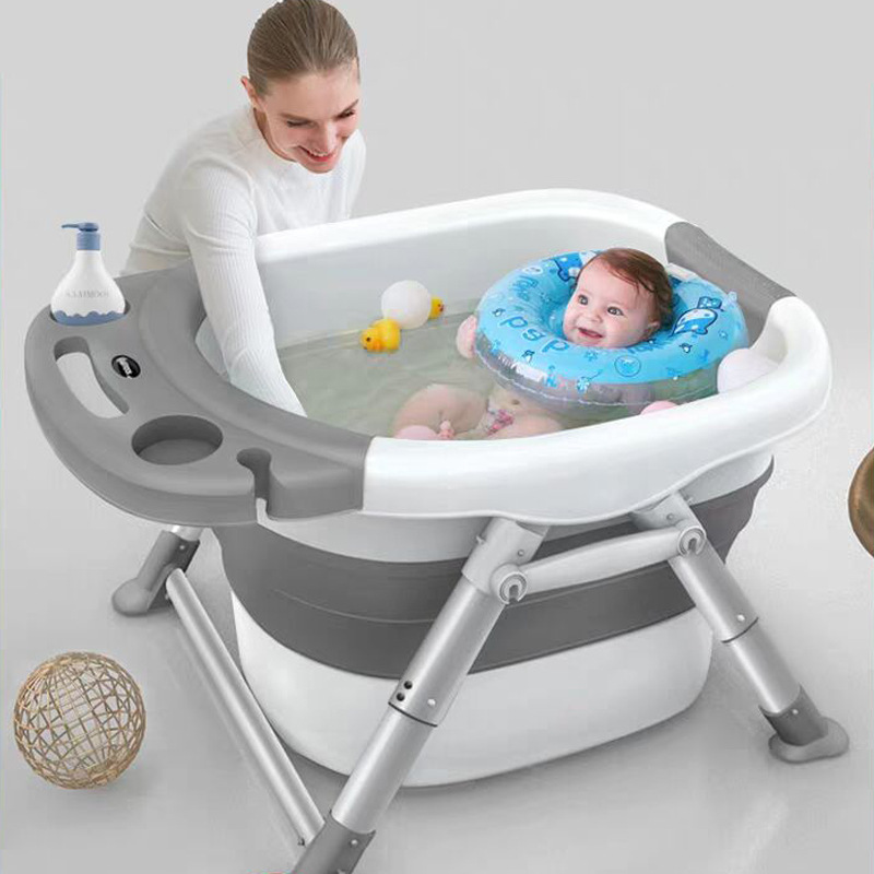 Baby Bathtubs For Infants Children's Folding Bath Bucket Multifunctional Aluminum Alloy Bathtub Large 0-15 Growth Stage Bathtub