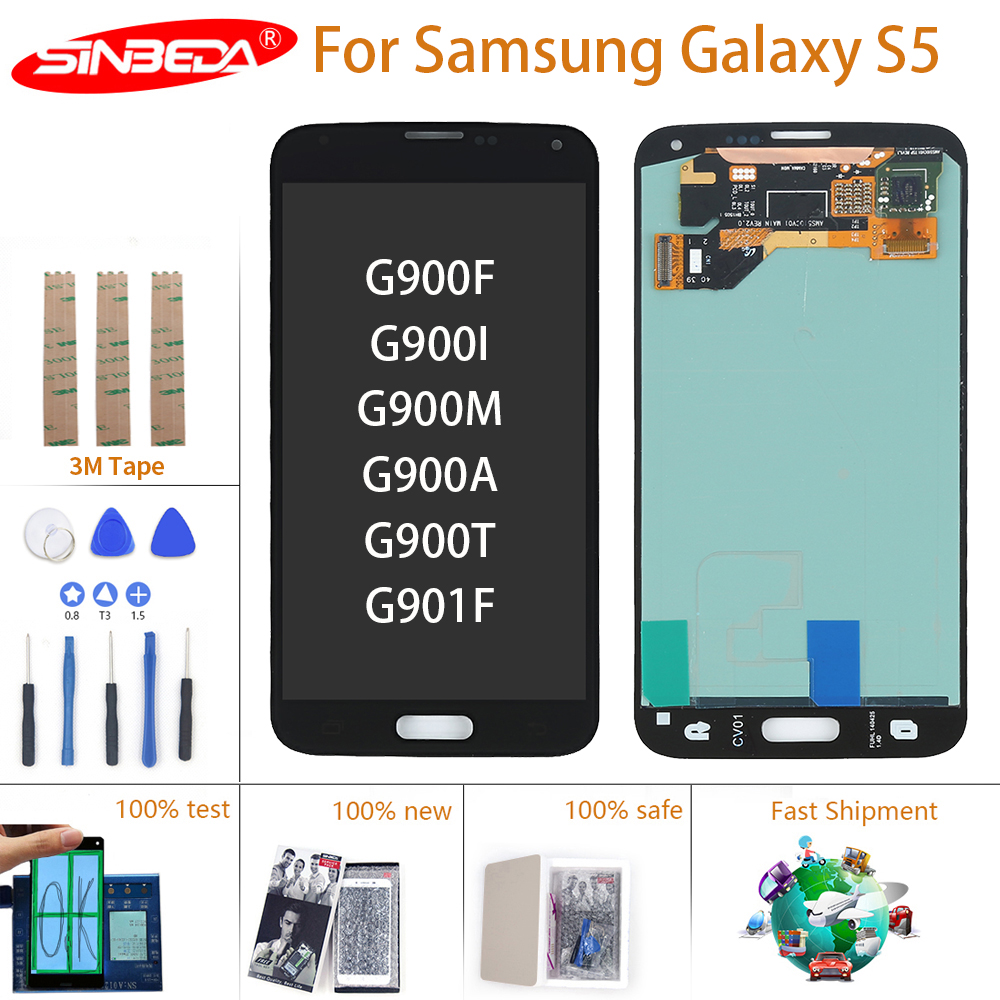 Original Super AMOLED For SAMSUNG GALAXY S5 G900 LCD Display Touch Screen Digitizer G900F G900M G901F For Samsung S5 LCD Screen(China)