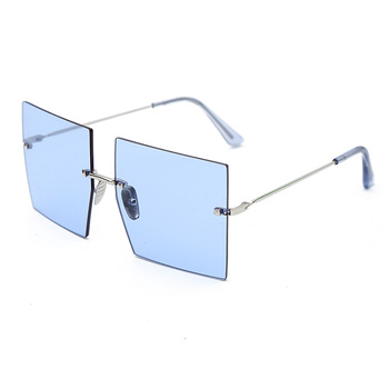 Oversized Rimless Square Sunglasses Women 2019 New Luxury Brand Fashion Flat Top Red Blue Clear Lens One Piece Men Gafas Glasses 6