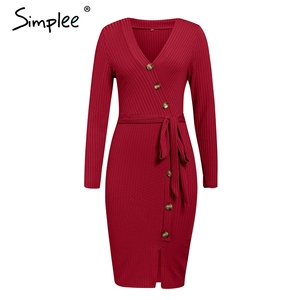 Image 4 - Simplee Sexy sheath women party dress High waist v neck single breasted winter dress Long sleeve lady autumn work wear vestidos