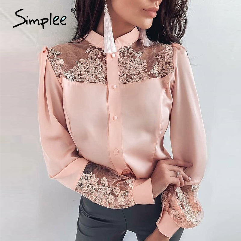 Simplee Plus Size Lace Embroidery Women Blouse Shirt Long Sleeve Patchwork Female Tops Shirts Spring Summer Office Ladies Tops