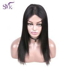 """SYK волосы бразильские прямые человеческие волосы парики 4*4 закрытие шнурка парик для черных женщин не Реми натуральный цвет 1""""-22"""" человеческие волосы парики"""