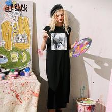 ELFSACK Black Swan Print Casual A Line Oversize Dresses Women 2020 Summer ELF Vintage White Sleeveless Korean Female Daily Dress