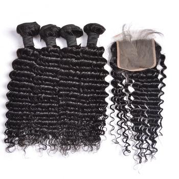 Глубопряди волос с застежкой 5*5, пучки с застежкой, 100% перуанские человеческие волосы для наращивания, пряди глубоких волн, Rrmy Hair