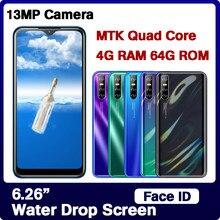 Ekran kropli wody 4G RAM 64G ROM czterordzeniowy 9C smartfony telefony komórkowe twarz odblokowane telefony komórkowe Android Celulars szybka wysyłka