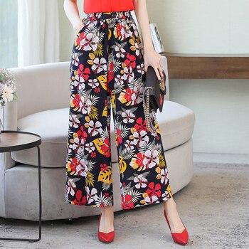 2020 women pants print vintage summer Mid Waist  Elegant Trousers Female Casual Summer Wide Leg Pants Plus Size 5XL