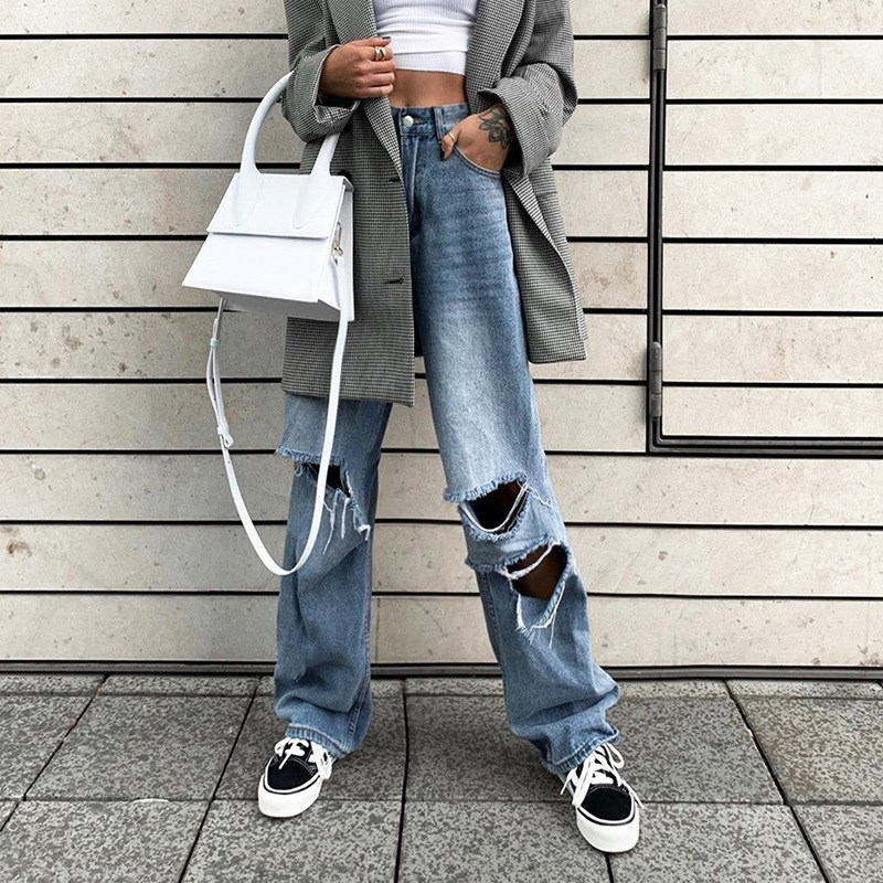 Streetwear Loose Faded Holes Ripped Denim   Pants   Chic Zipper High Waist Trousers Hole Full-Length Pockets   Wide     Leg     Pants
