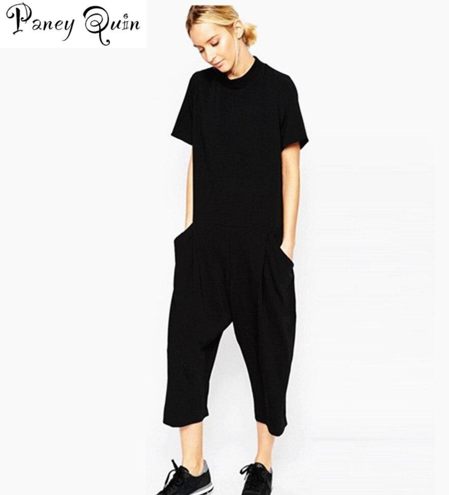 summer black rompers womens jumpsuit Elegant side pocket loose-fitting combinaison femme Romper overalls jumpsuit for women
