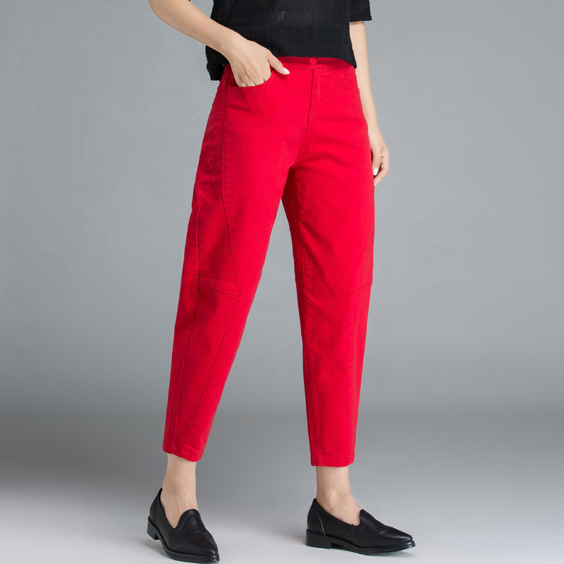 New Arrival Spring Summer Women High Waist Loose Harem Pants Plus Size Casual Cotton Denim Female Ankle-length Red Jeans D319