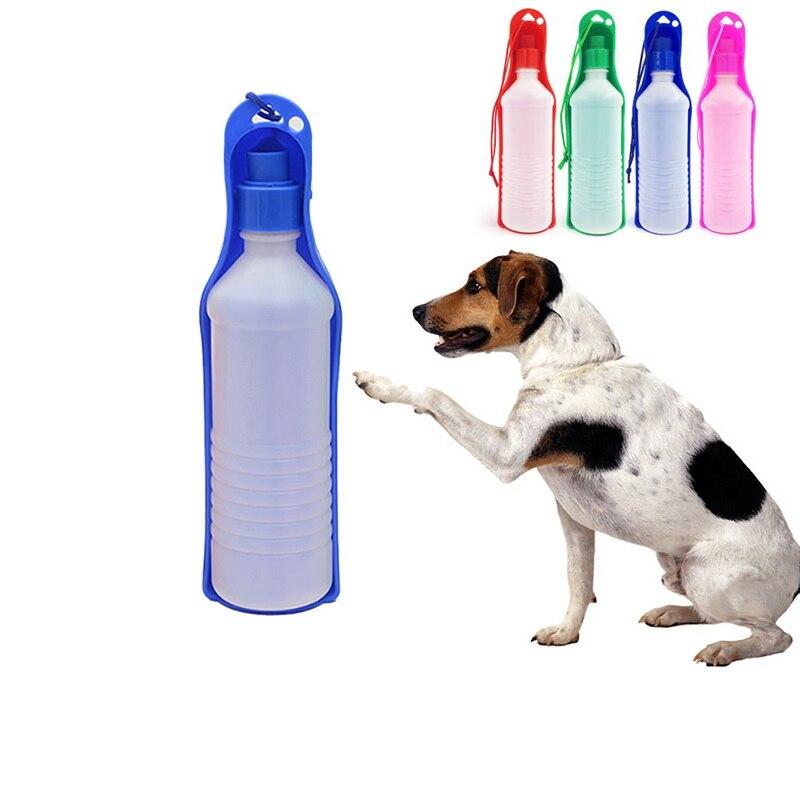 Pet Folding Drinker 500ML/250ML Pet Dog Cat Drinking Bowl Pet Travel Drinker Plastic Water Bottle Outdoor Travel Portable Bottle