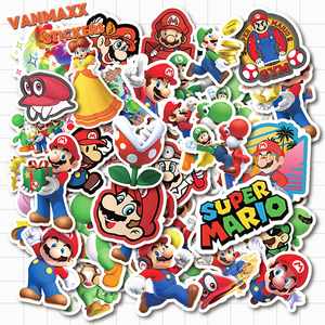 VANMAXX 50 PCS Mario Jump Man Cartoon Stickers Waterproof PVC Decal for Laptop Helmet Bicycle Luggage Phone Case Car Stickers