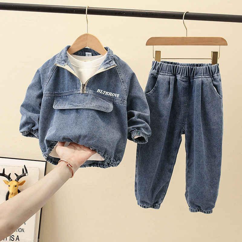 Venda quente bebê meninos conjuntos de roupas 1-7 anos de idade primavera e outono 2-pieces-conjuntos denim 2-piece grande bolso lavagem meninos coreano