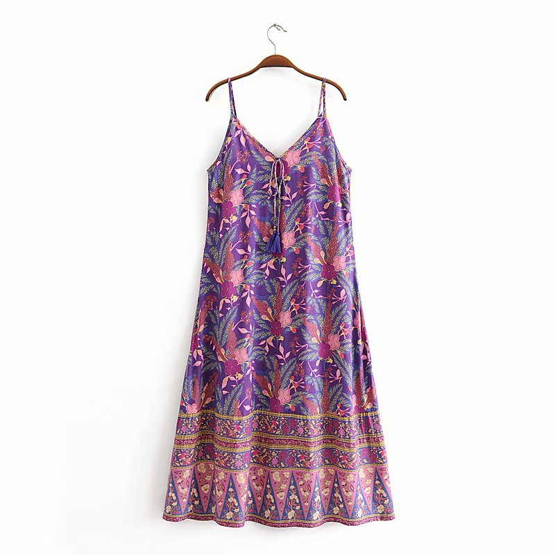 Bohemia Dress KIYUMI 2019 Summer Women's Rayon Loose Dresses Floral Print Sleeveless Straped Vestido Casual Beach Long Dress New