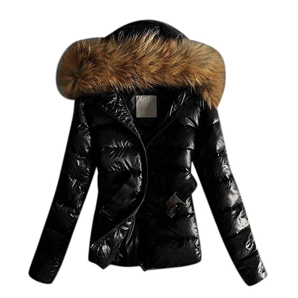 Femme Veste Femmes Outwear Matelassé Coupe vent Hiver Chaud Manteaux Col De Fourrure à Capuche Veste Hauts Avec Ceinture Outwear Manteaux #45
