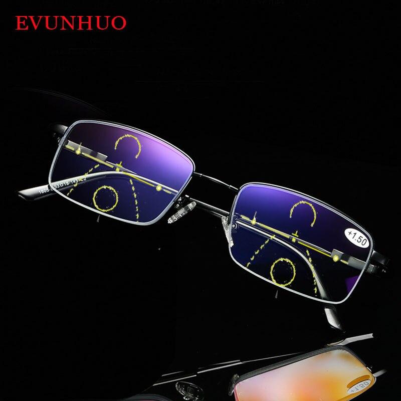 Memory Titanium Multifocal Reading Glasses Progressive Bifocal Anti Blue Ray UV Protect Presbyopic Glasses Half Frame Men Women