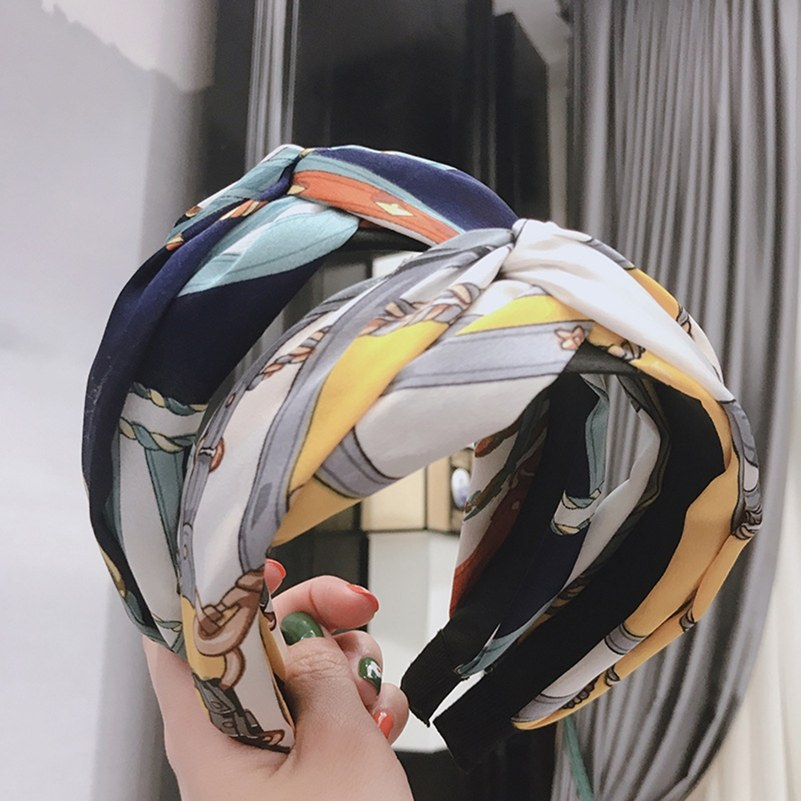 Floral Print Cloth Cross Hairband Headband Turban for Women Lady Wide Plastic Hair Hoop Bezel Hair B…