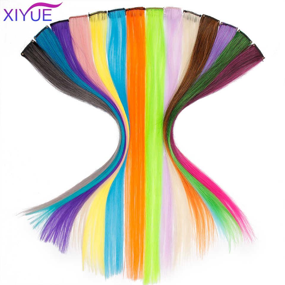 Afro colorido único grampo em uma parte arco-íris colorido extensão do cabelo longo ombre rosa reta destaque cabelo sintético peça para