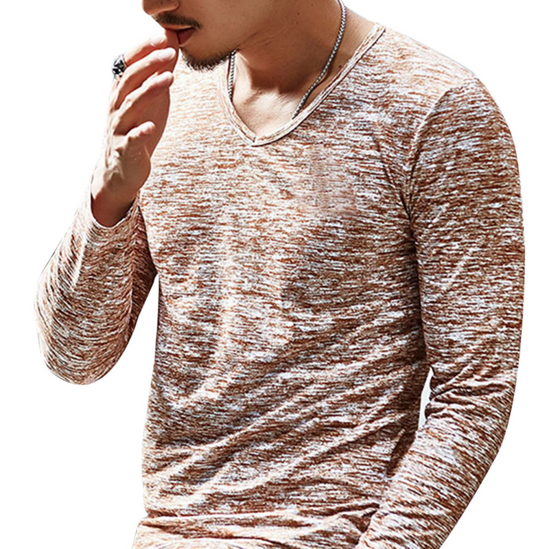 2020 Spring Men T-shirt Long Sleeve T Shirt Men Slim Basic Tops Tee Men Clothing Summer V Neck Top Tees Shirts Plus Size 3XL 2