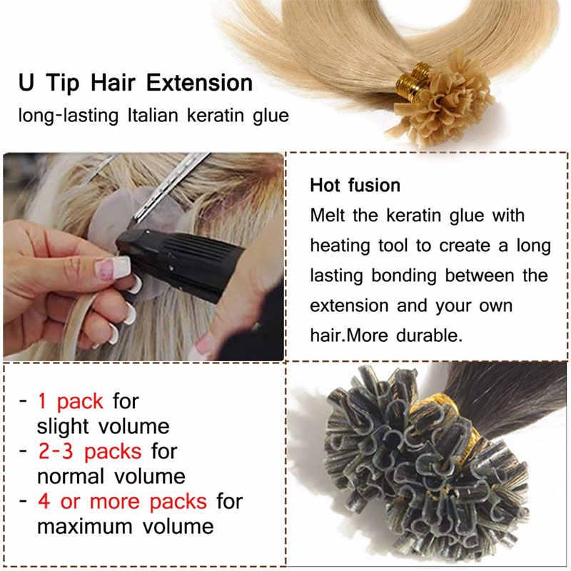 """SEGO 16 """"-24"""" 50 nici prosto keratyny kapsułki ludzkie Fusion włosy paznokcie U wskazówka maszyna wykonane Remy wstępnie związane włosy rozszerzenie 1 g/s"""
