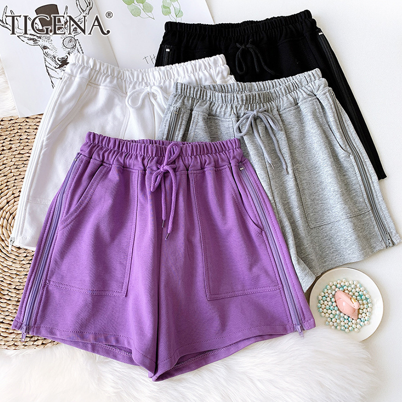 TIGENA 2020 Summer Cotton Shorts Women Korean Style Elastic High Waist Shorts Femme Zipper Belt Pocket Short Pants Women Purple