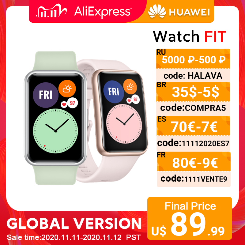 In Stock Global Version HUAWEI Watch FIT SmartWatch Quick Workout Animations Blood Oxygen Watch FIT 10 Days Battery Life|Smart Watches| - AliExpress